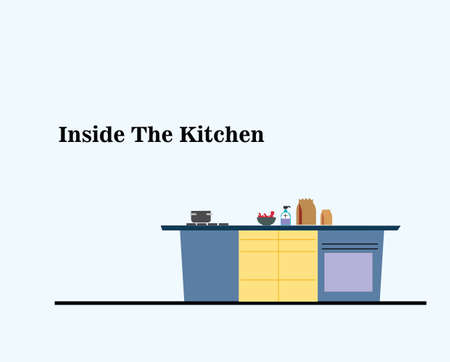 Kitchen with Cooking Utensils and stove Stock Illustratie