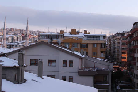 Beautiful city covered with snow Stockfoto
