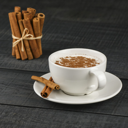 Close up of a white cup of salep