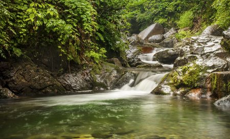- Stream Small Waterfall near Andon spa with mineral spring water, Rize Turkey Stock Photo