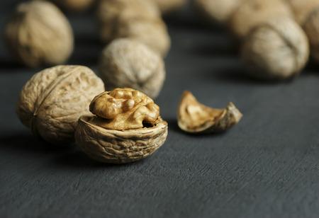walnut healthy food for brain. walnut background Foto de archivo - 110428769