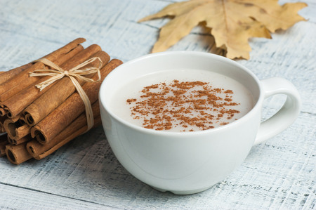 white cup of milk on white background. Sahlep background Stock Photo