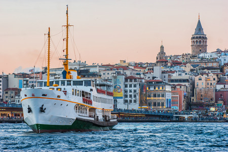 Galata Tower and Galata Bridge in Istanbul, Turkey