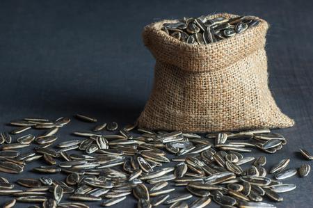 Sunflower seeds in burlap sack