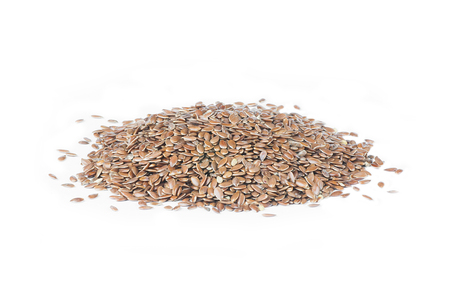 Heap of flax seeds or linseeds isolated on white background. Flaxseed or linseed concept. Flax seed dietary fiber background