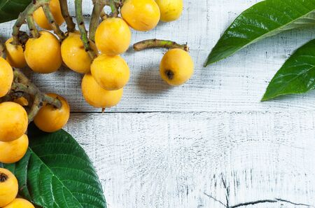 Fresh ripe loquat with fruit and branch on wooden background, malta plum, summer fruits concept Imagens
