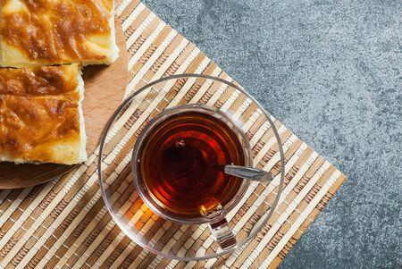 Turkish water boregi, burek or borek, traditional Turkish stuffed filo dough cheesy pastry food