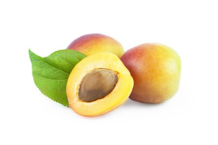 Fresh whole Ripe apricot isolated on white background with clipping path Imagens