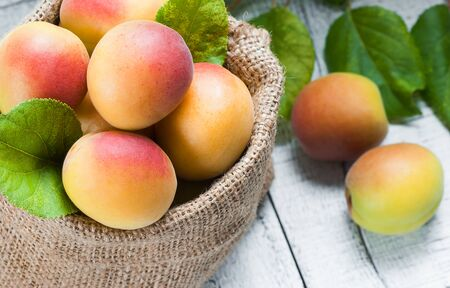 Fresh whole Ripe apricot with a leaf and half in burlap sack on wooden rustic table. Apricots healthy fruit background Imagens