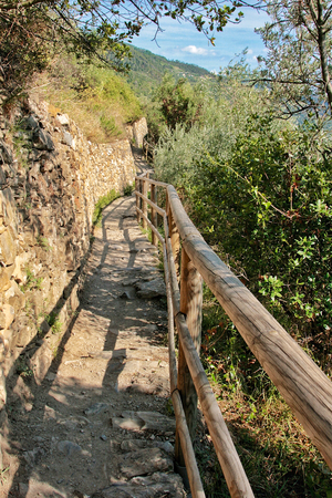 and hiking path: Hiking path at the Cinque Terre National Park Stock Photo