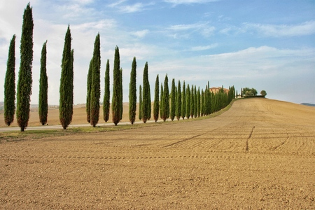 Landscape at Val d? ? ? Orcia, Italy Stock Photo