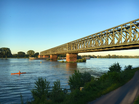 Railroad bridge across river Rhine, Mainz
