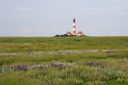 westerheversand: Lighthouse Westerhever at night in the morning