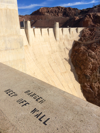 famous industries: Hoover Dam Warning DANGER KEEP OFF WALL
