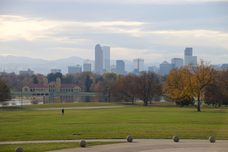 Denver skyline with Rocky Mountains