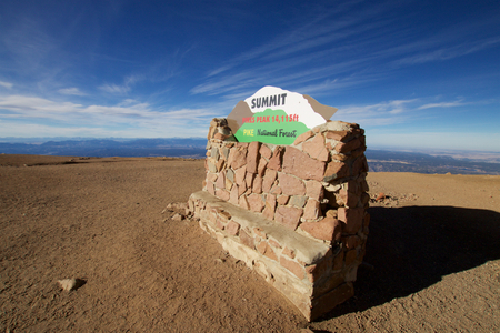 Summit marker Pikes Peak