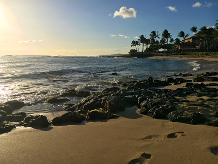 Poipu Beach Park on the Hawaiian Island of Kauai Stock Photo