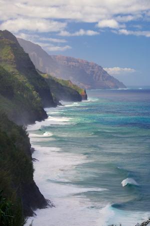 Napali Coast on the Hawaiian Island of Kauai seen from Kalalau Hiking Trail