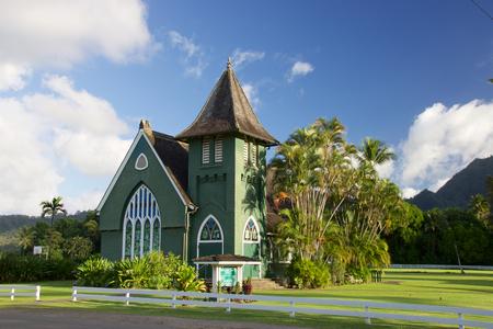 Waioli Huiia Church Hanalei sull'isola hawaiana di Kauai Archivio Fotografico - 81638570