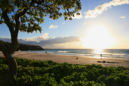 Hapuna Beach on Big Island before sunset