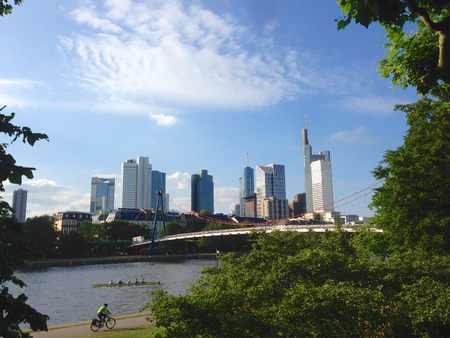 sachsenhausen: Frankfurt skyline Stock Photo