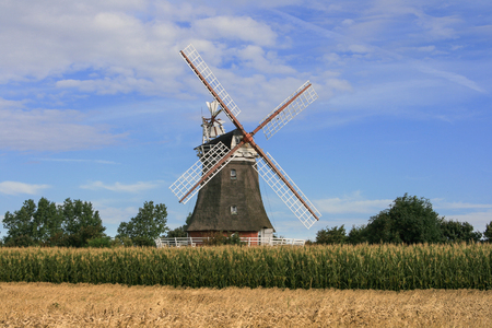 Historic windmill on the North Frisian island of Foehr