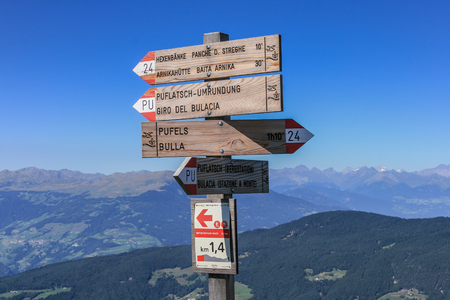 Signpost at Seiser Alm in the Italian region of South Tyrol Editorial