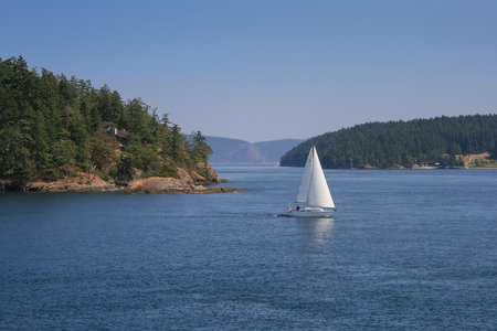 Sailing boat at Puget Sound somewhere between Orcas and San Juan Island