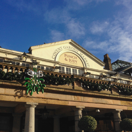 London, United Kingdom � � December 4, 2015: Covent Garden Market with Mistletoe and Christmas decoration