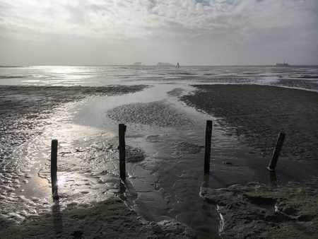 Beach in St.Peter-Ording on a sunny day in winter