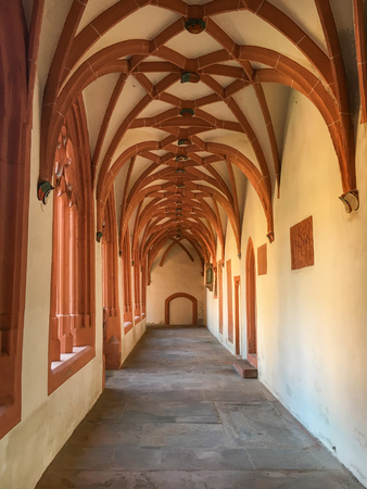 Cloister of catholic parish church of St. Stephan in Mainz, Germany