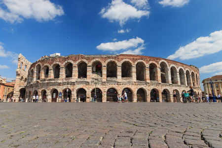 Outside view of Verona Arena from Piazza Bra