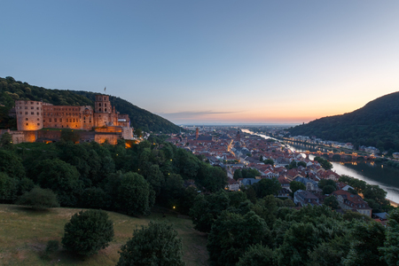 Cityscape of the German city of Heidelberg with old bridge and castle from Scheffelterrasse