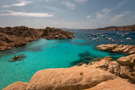 Many boats anchoring at beautiful Cala Coticcio on the Italian island of Caprera Reklamní fotografie