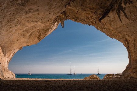 Inside a cave at Cala Luna beach on the Italian island of Sardinia