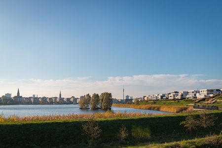 Panorama of Phoenixsee in the German city of Dortmund on a sunny afternoon in autumn