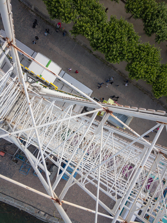 View to the hub of a Ferris wheel from above Editorial