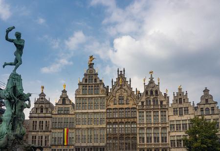 Grote Markt in Antwerp, Belgium with Fountain statue of Brabo