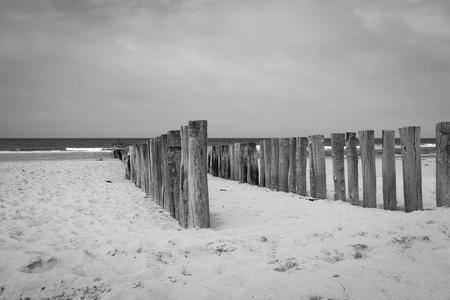 Schwarz-weiß-Bild von Strandstangen Wavebreaker am Strand von Domburg, Zeeland, Niederlande Standard-Bild