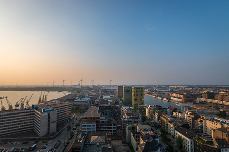 Cityscape of the Belgian city of Antwerp looking north Imagens