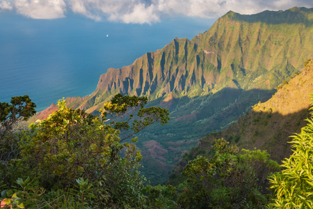 View from Kalalau Lookout to beautiful Na Pali Coast at Koke'e State Park on the Hawaiian island of Kauai, USA