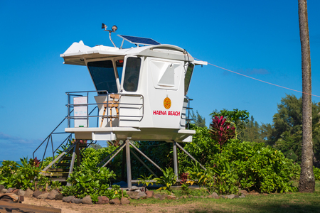 Lifeguard tower at Haena Beach Park on the north shore of the Hawaiian island of Kauai, USA Editorial