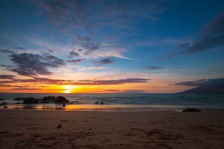 Colorful sunset Kamaole Beach Park on the Hawaiian island of Maui