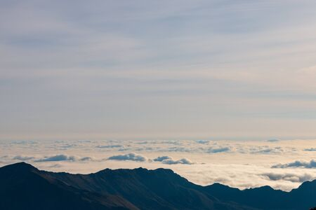 Blanket of clouds seen from the top of Haleakala volcano, Maui, Hawaii, USA