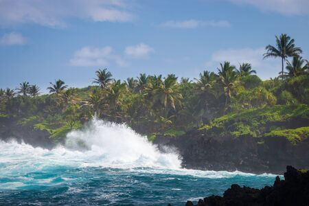 Rough black coastline at Waianapanapa State Park on the Hawaiian island of Maui along Road to Hana, USA