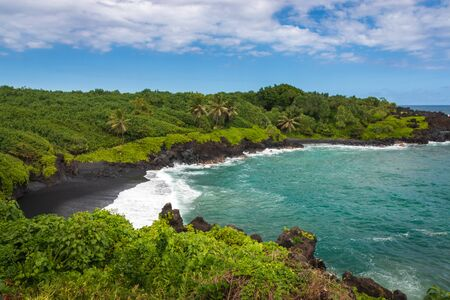 Waianapanapa Black Sand Beach on the Hawaiian island of Maui along Road to Hana, USA
