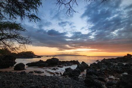 Beautiful sunset at Makena Bay on the Hawaiian island of Maui