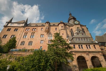 Marburg Castle (Landgrafenschloss) on top Schlossberg in the German city of Marburg