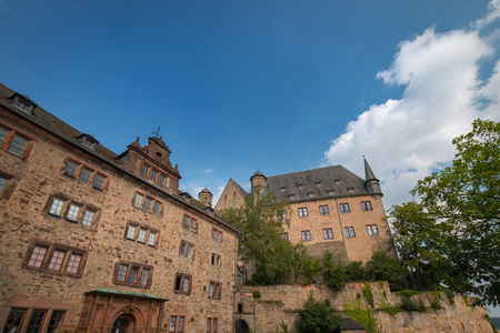 Marburg Castle (Landgrafenschloss) on top Schlossberg in the German city of Marburg Archivio Fotografico - 125542944