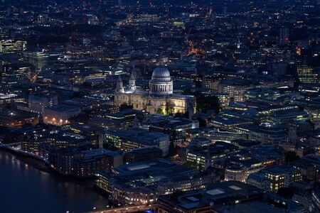 Aerial view of London city at night with urban architectures St. Paul's Chathedral, United Kingdom